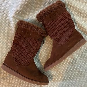 Brown Booties Faux Suede Furry Brown Boots